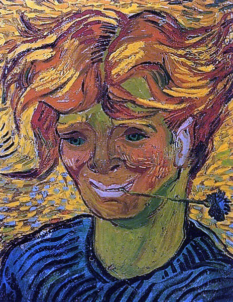 Vincent Van Gogh Young Man with Cornflower - Canvas Art Print