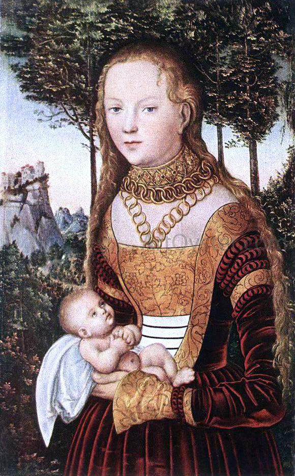 The Elder Lucas Cranach Young Mother with Child - Canvas Art Print