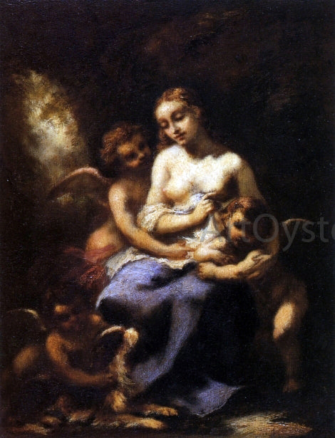 Narcisse Virgilio Diaz De la Pena  Young Nymph and Three Cupids - Canvas Art Print
