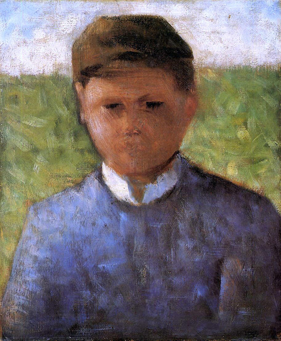 Georges Seurat Young Peasant in Blue - Canvas Art Print