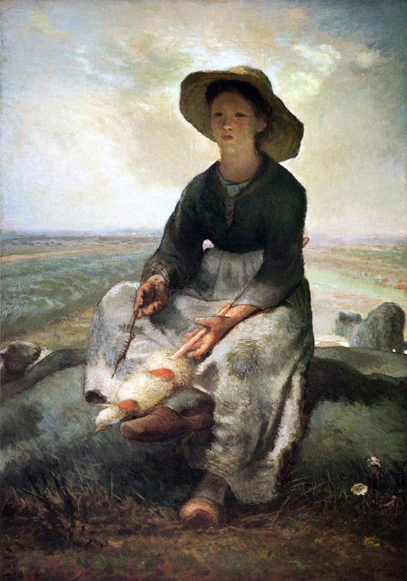 Jean-Francois Millet Young Shepherdess - Canvas Art Print