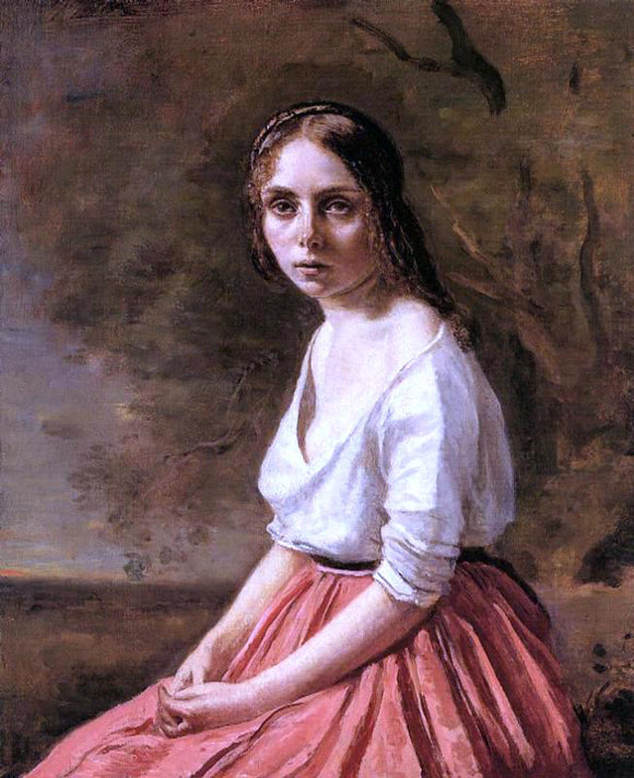 Jean-Baptiste-Camille Corot Young Woman - Canvas Art Print