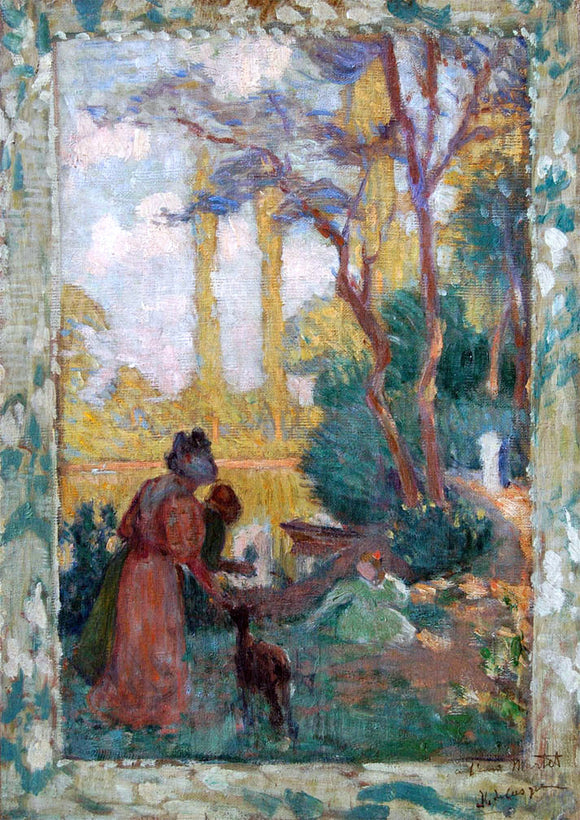 Henri Lebasque Young Woman and Children in Park - Canvas Art Print