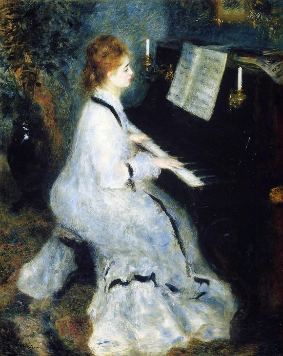 Pierre Auguste Renoir A Young Woman at the Piano - Canvas Art Print