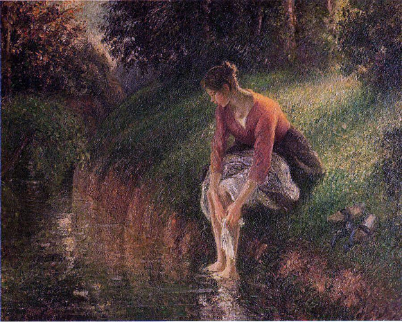 Camille Pissarro Young Woman Bathing Her Feet (also known as The Foot Bath) - Canvas Art Print