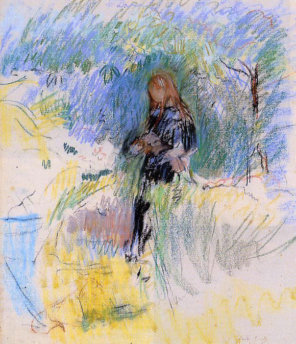 Berthe Morisot Young Woman Holding a Dog in Her Arms - Canvas Art Print