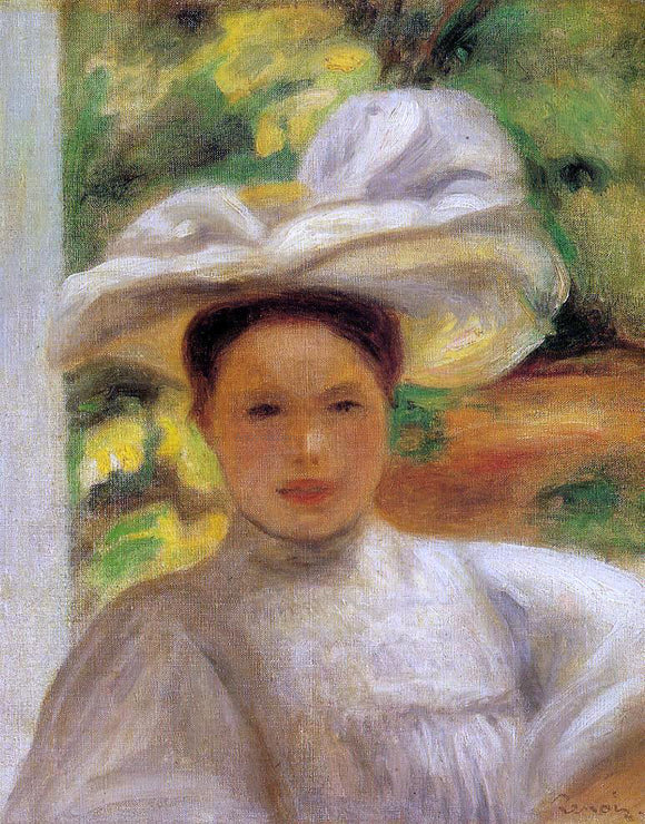 Pierre Auguste Renoir Young Woman in a Hat - Canvas Art Print