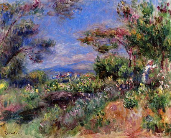 Pierre Auguste Renoir Young Woman in a Landscape, Cagnes - Canvas Art Print