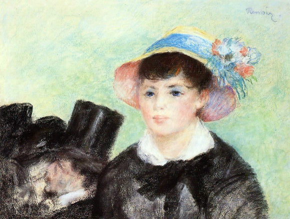 Pierre Auguste Renoir Young Woman in a Straw Hat - Canvas Art Print