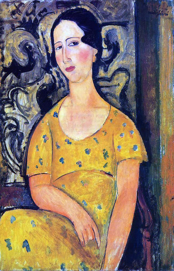 Amedeo Modigliani Young Woman in a Yellow Dress (also known as Madame Modot) - Canvas Art Print