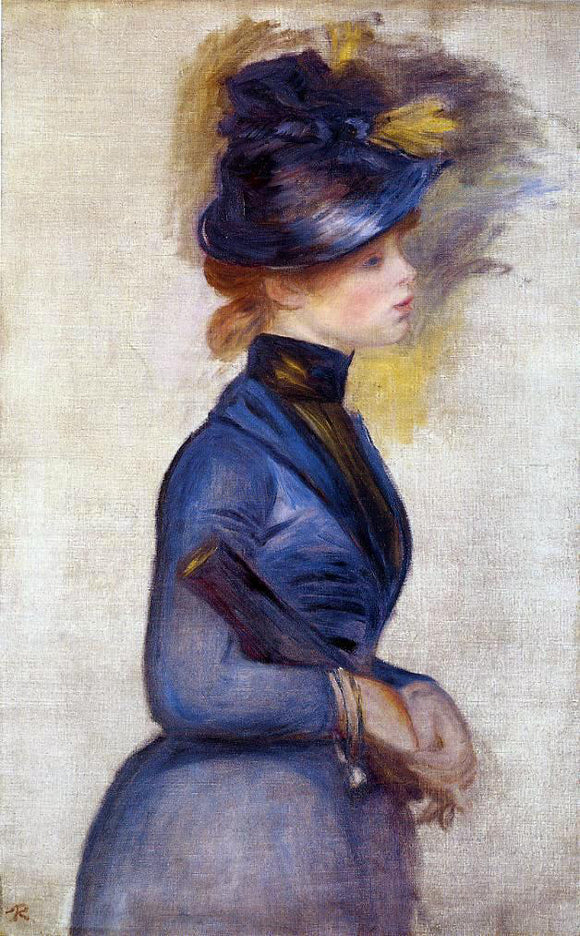 Pierre Auguste Renoir Young Woman in Bright Blue at the Conservatory - Canvas Art Print