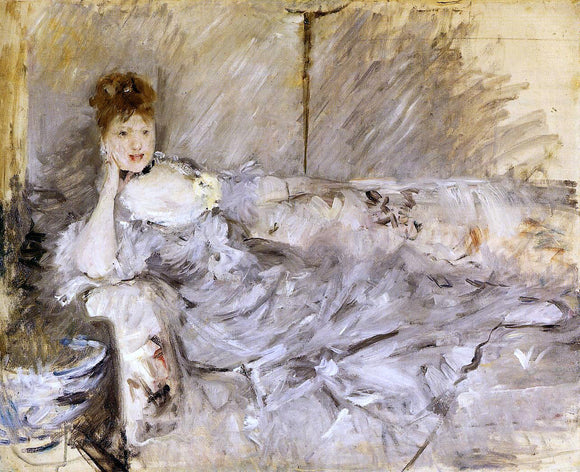 Berthe Morisot Young Woman in Grey Reclining - Canvas Art Print
