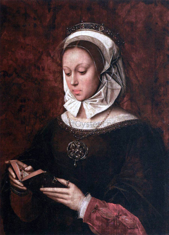 Ambrosius Benson Young Woman in Orison Reading a Book of Hours - Canvas Art Print