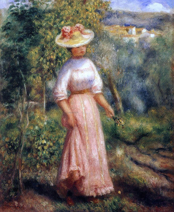 Pierre Auguste Renoir Young Woman in Red in the Fields - Canvas Art Print
