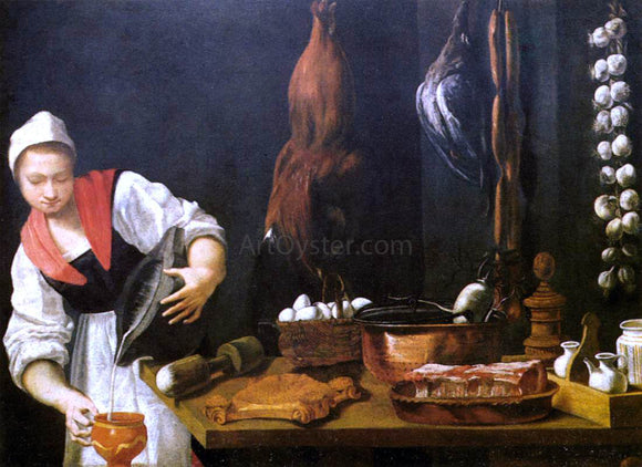 Andrea Commodi Young Woman in the Kitchen - Canvas Art Print