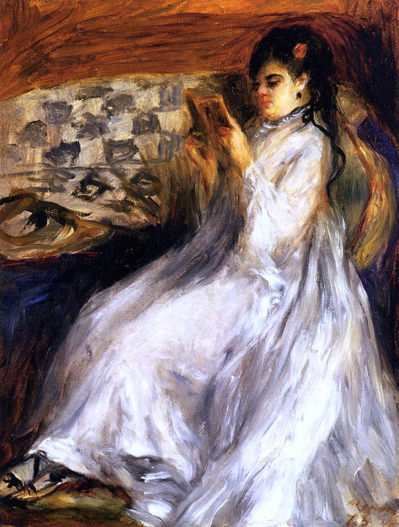 Pierre Auguste Renoir Young Woman in White Reading - Canvas Art Print