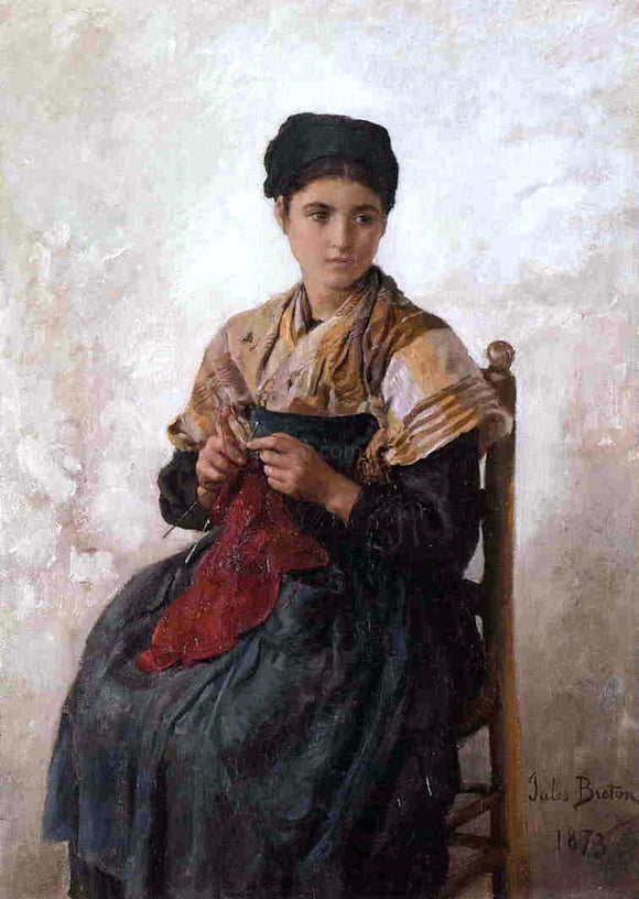 Jules-Adolphe Breton Young Woman Knitting - Canvas Art Print