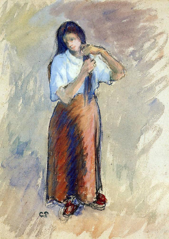 Camille Pissarro Young Woman Knotting Her Hair - Canvas Art Print