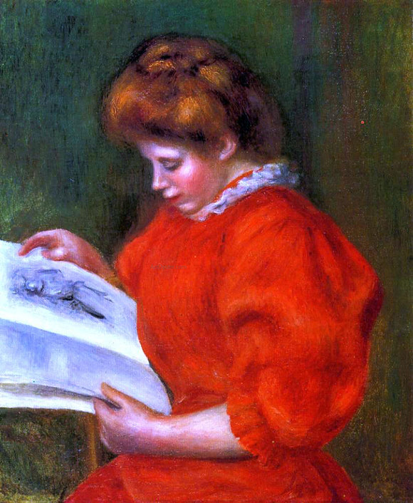 Pierre Auguste Renoir Young Woman Looking at a Print - Canvas Art Print