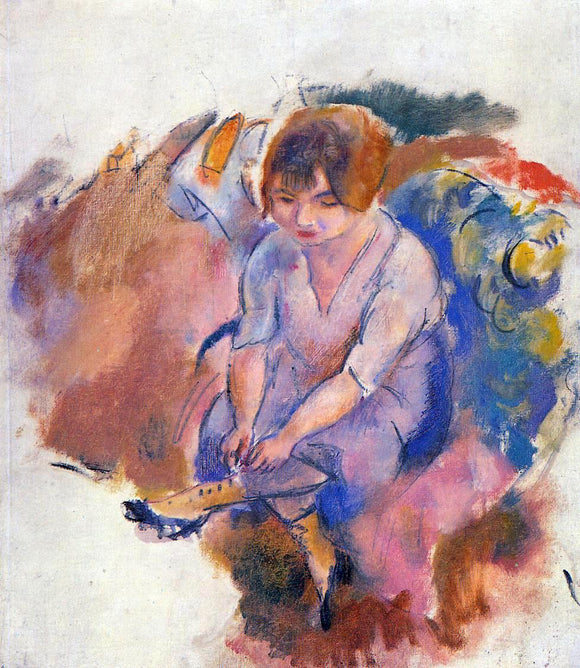 Jules Pascin Young Woman Putting on Her Socks - Canvas Art Print