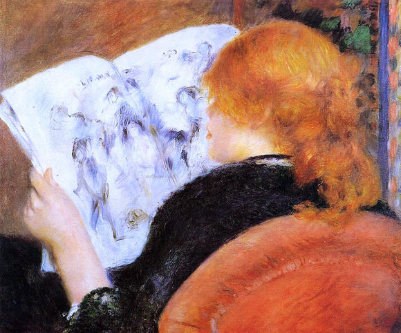 Pierre Auguste Renoir Young Woman Reading an Illustrated Journal - Canvas Art Print