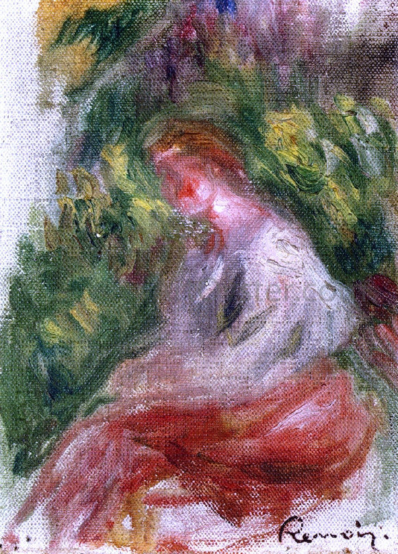 Pierre Auguste Renoir Young Woman Seated - Canvas Art Print