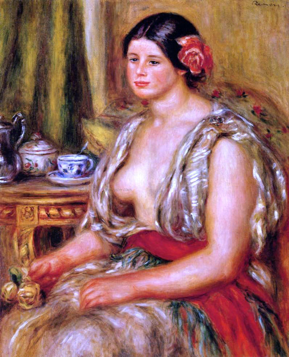 Pierre Auguste Renoir Young Woman Seated in an Oriental Costume - Canvas Art Print