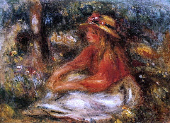 Pierre Auguste Renoir Young Woman Seated on the Grass - Canvas Art Print