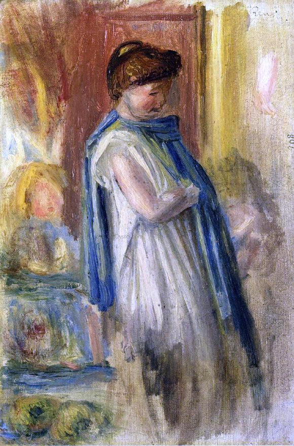 Pierre Auguste Renoir Young Woman Standing - Canvas Art Print