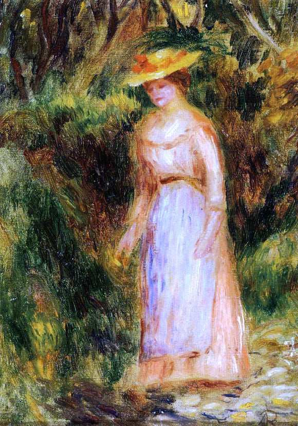 Pierre Auguste Renoir Young Woman Taking a Walk - Canvas Art Print