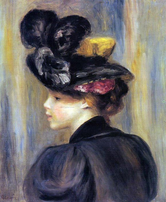 Pierre Auguste Renoir Young Woman Wearing a Black Hat - Canvas Art Print