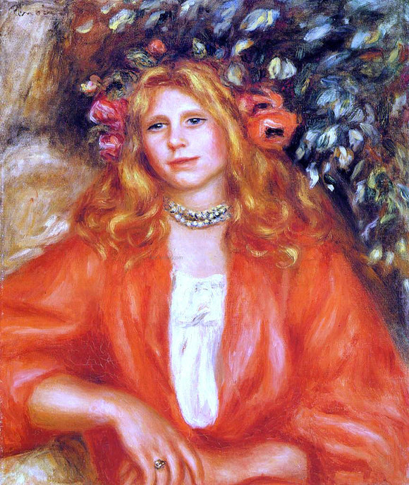 Pierre Auguste Renoir Young Woman Wearing a Garland of Flowers - Canvas Art Print