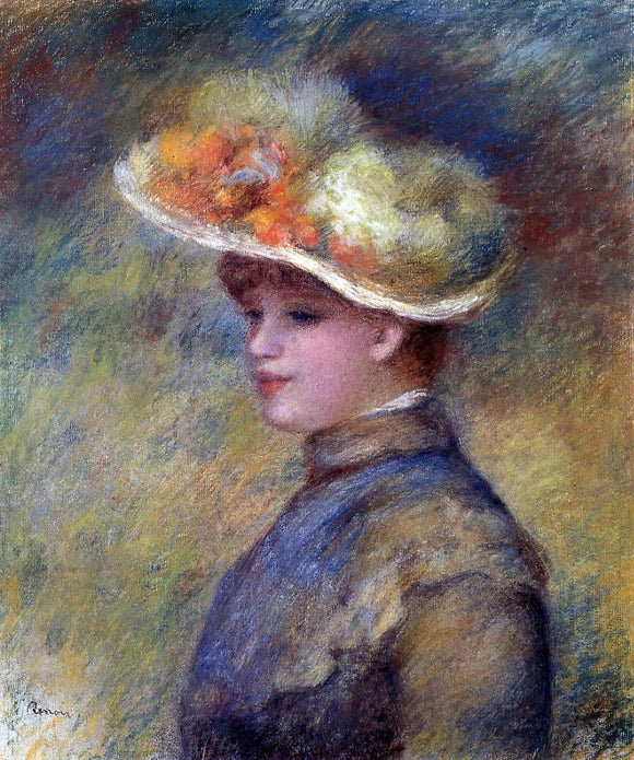 Pierre Auguste Renoir Young Woman Wearing a Hat - Canvas Art Print