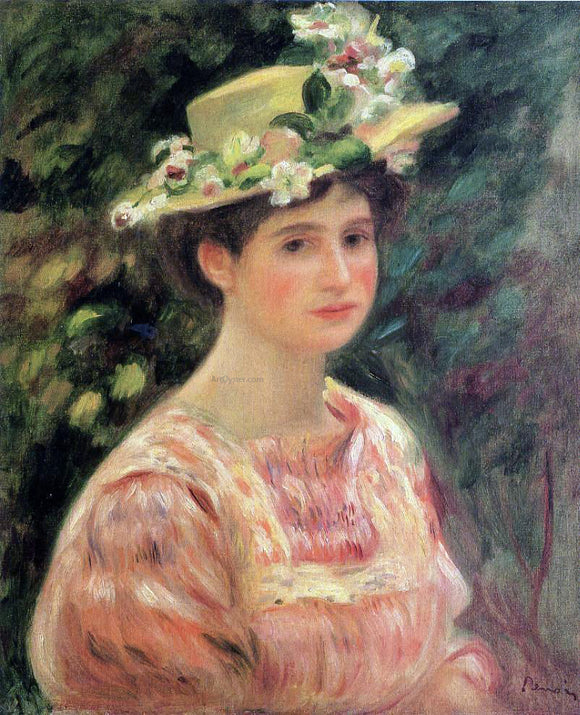 Pierre Auguste Renoir Young Woman Wearing a Hat with Wild Roses - Canvas Art Print