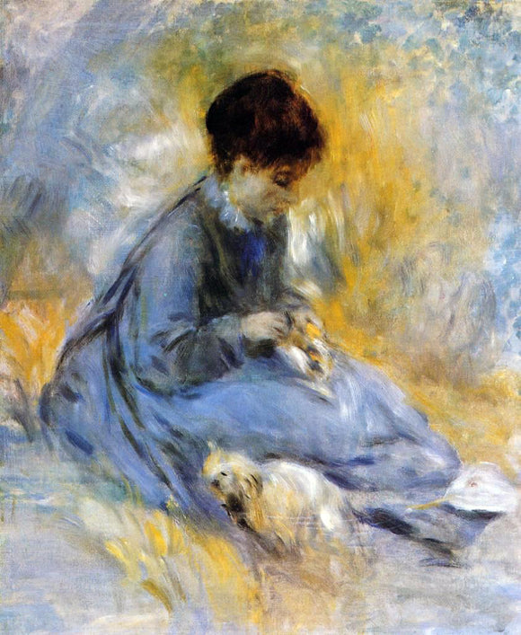 Pierre Auguste Renoir Young Woman with a Dog - Canvas Art Print