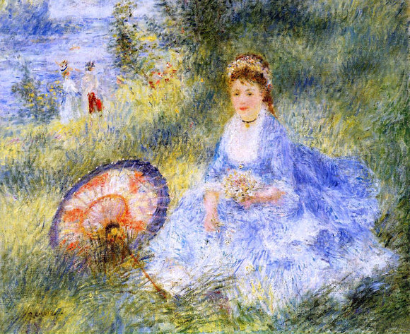 Pierre Auguste Renoir Young Woman with a Japanese Umbrella - Canvas Art Print