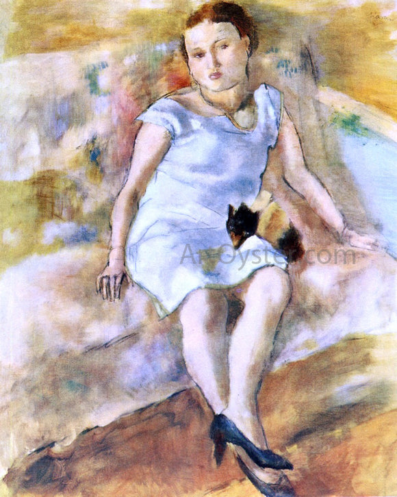 Jules Pascin Young Woman with a Little Dog - Canvas Art Print