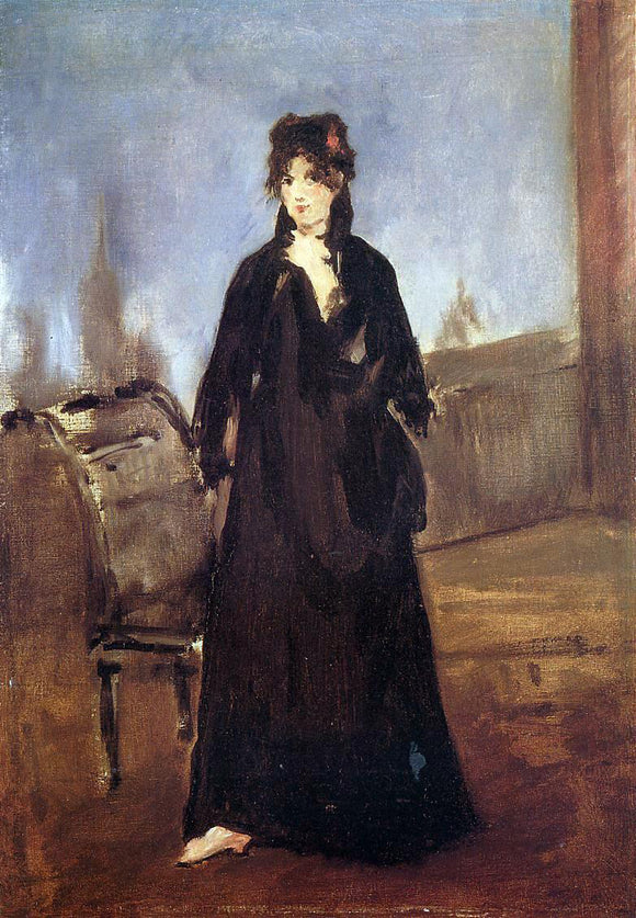 Edouard Manet Young Woman with a Pink Shoe (also known as Portrait of Bertne Morisot) - Canvas Art Print