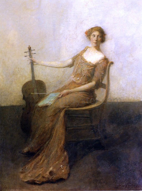 Thomas Wilmer Dewing Young Woman with Violincello - Canvas Art Print