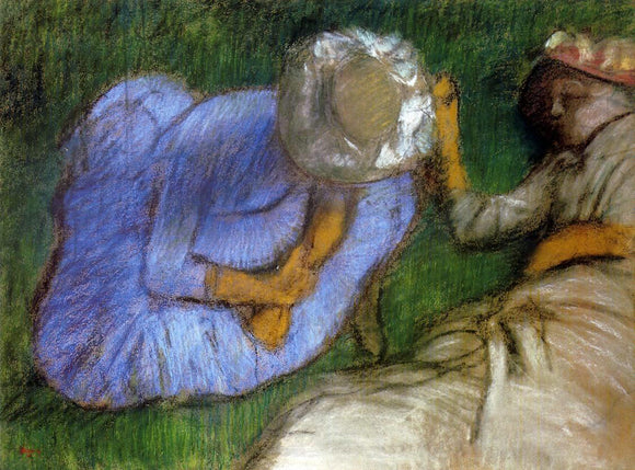 Edgar Degas Young Women Resting in a Field - Canvas Art Print