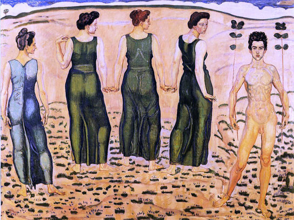 Ferdinand Hodler Youth Admired by Women (I) - Canvas Art Print