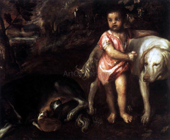 Titian Youth with Dogs - Canvas Art Print