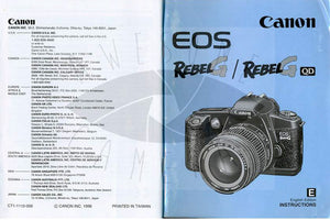 Canon EOS Rebel G Camera Manual