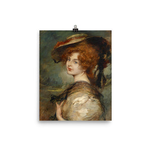 Leopold Schmutzler - Portrait of a lady with red hair and hat