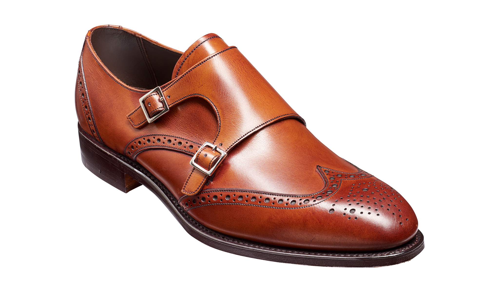 Men's brown monk strap shoe by Barker