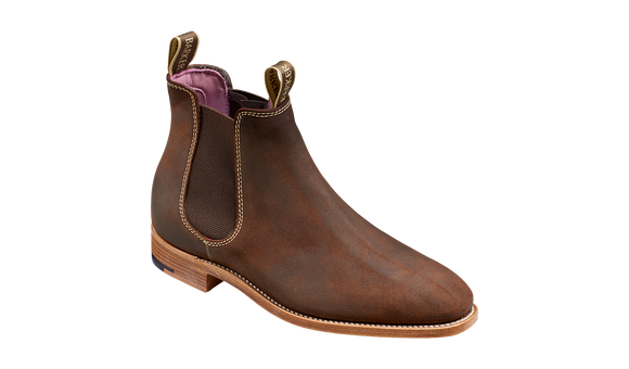 Gina - Mid Brown Waxy Suede - Barker Shoes Rest of World