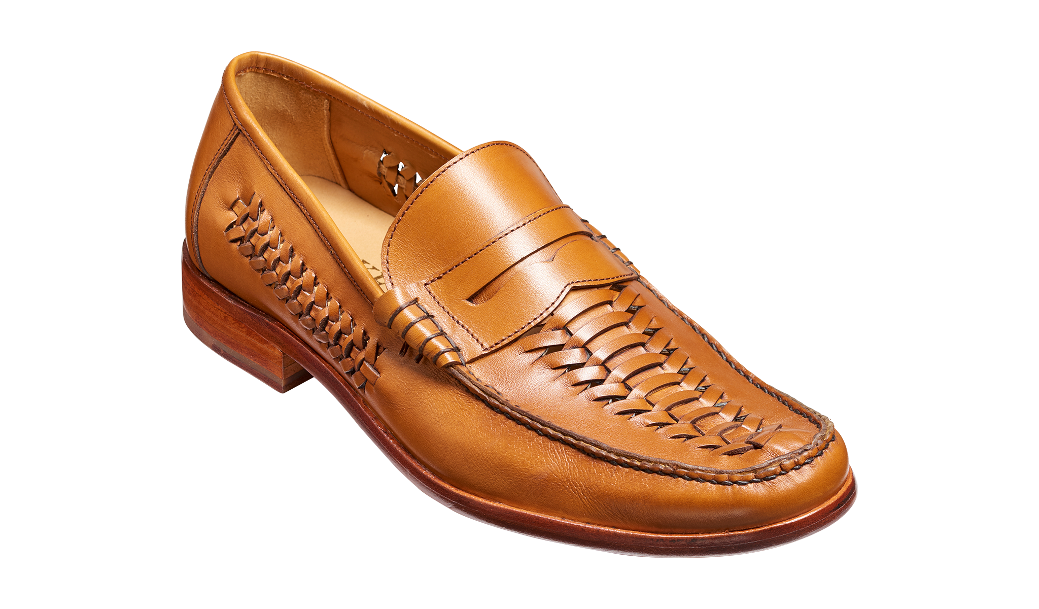 Men hand woven lock-stitched moccasin by Barker.