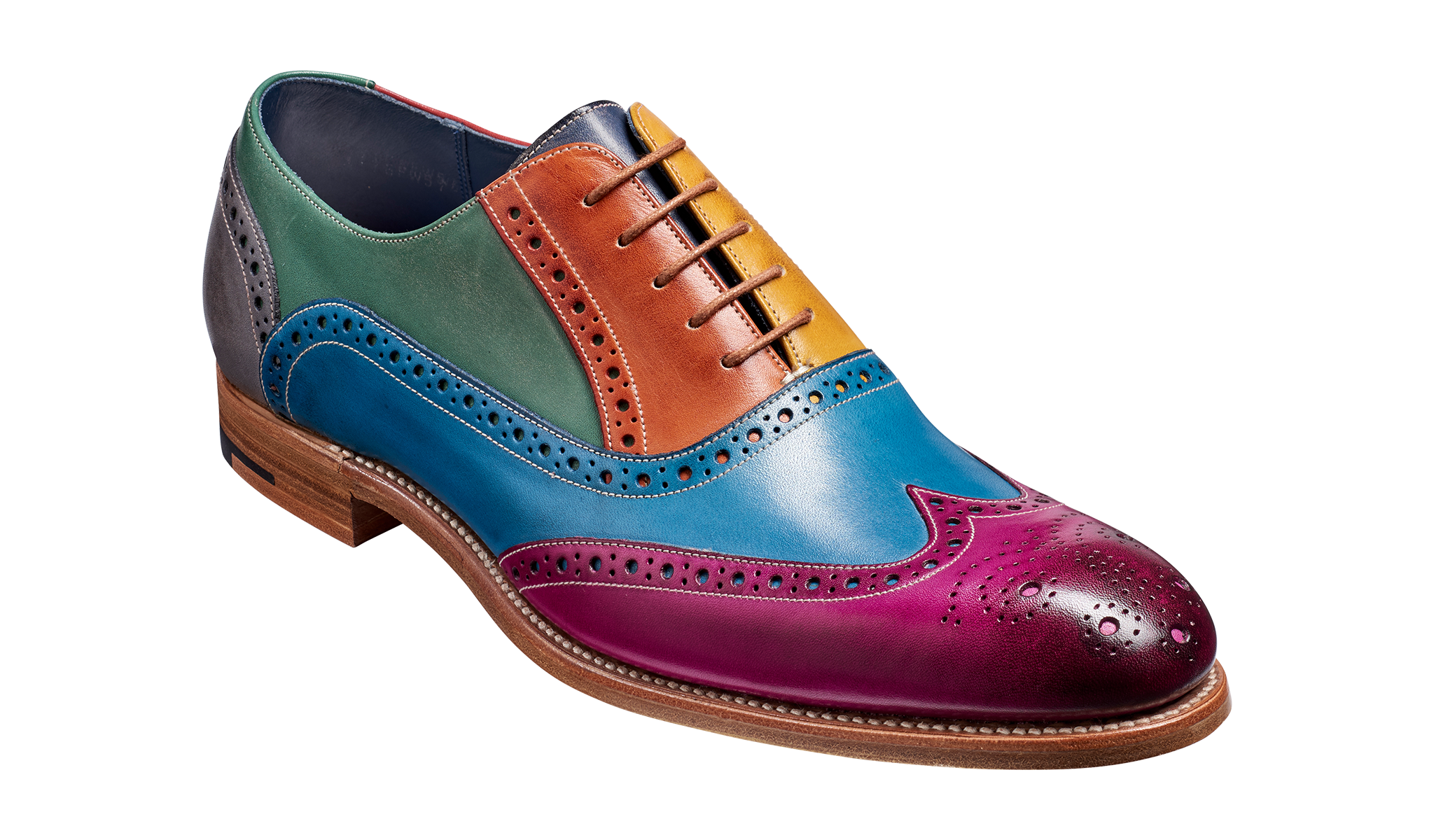 Men's multi-colored brogue shoe by Barker