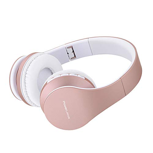 PowerLocus P1 – Auriculares Bluetooth inalambricos de Diadema Cascos Plegables, Casco Bluetooth con Sonido Estéreo con Conexión a Bluetooth Inalámbrico y Audio Cable para Movil, PC, Tablet - Oro Rosa