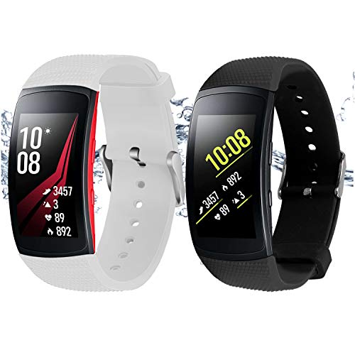 "Rukoy Correas Samsung Gear Fit 2 Band/Gear Fit 2 Pro [Paquete de 2: Negro + Blanco], Accesorios para Baterías de Repuesto para Samsung Gear Fit2 Pro SM-R365 / Gear Fit2 SM-R360 Smartwatch (5.9""-7.5"")"